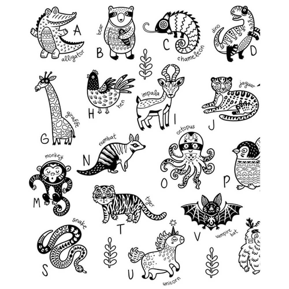 Coloriage Geant Educatif Alphabet Animaux En Anglais Enfants