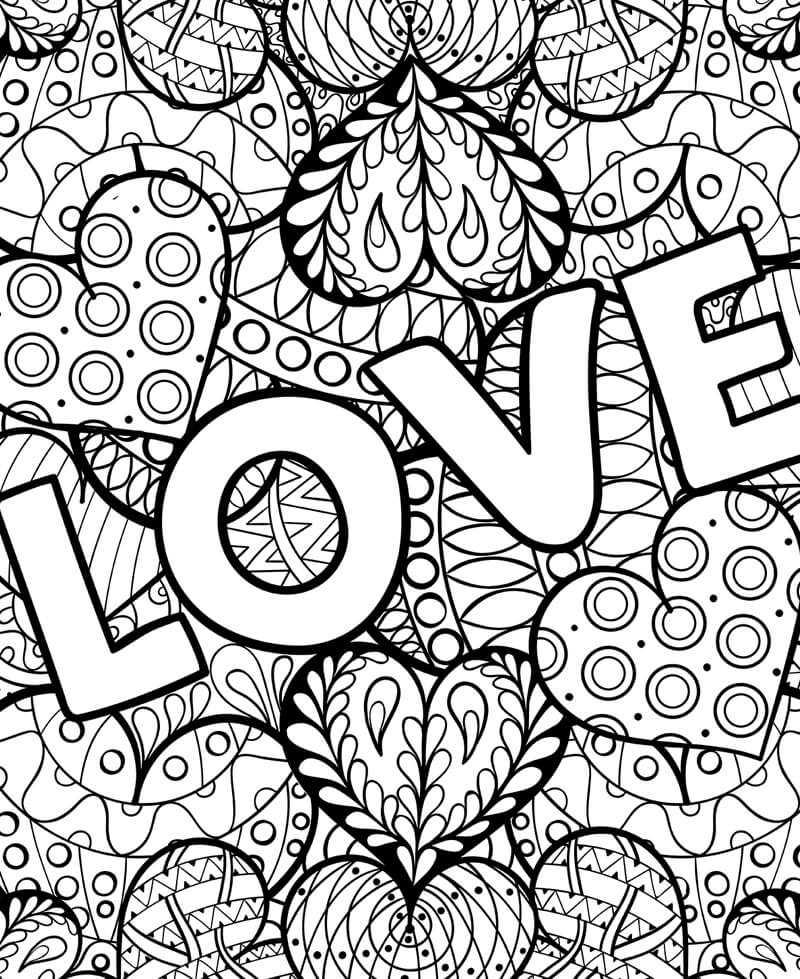Coloriage géant pour enfants et adultes, amour, love, coeurs, mandala