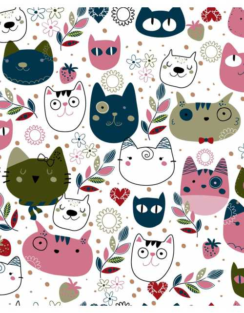 Papier Peint Scandi Cats