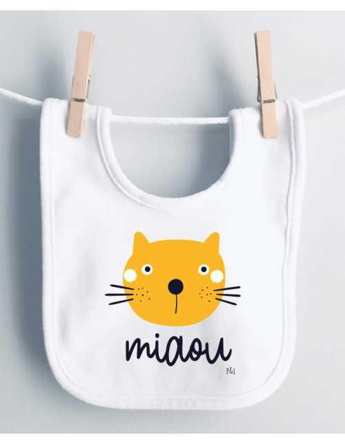Bavoir Bébé Tête de chat - Miaou