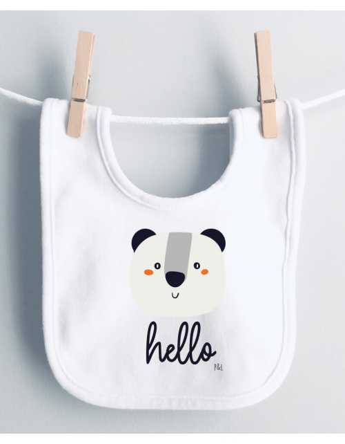 Bavoir Bébé Panda Hello