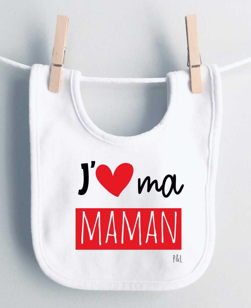 Bavoir J aime ma maman, mes mamans