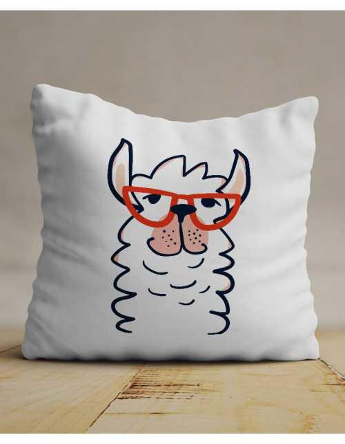 Coussin Lama à lunettes