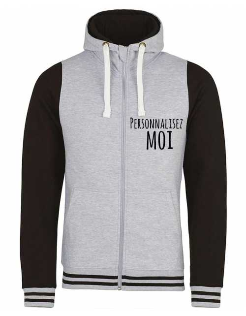 Sweat College à capuche zip