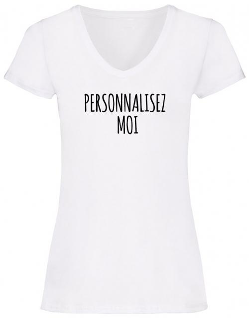 T-shirt Femme Col V à personnaliser