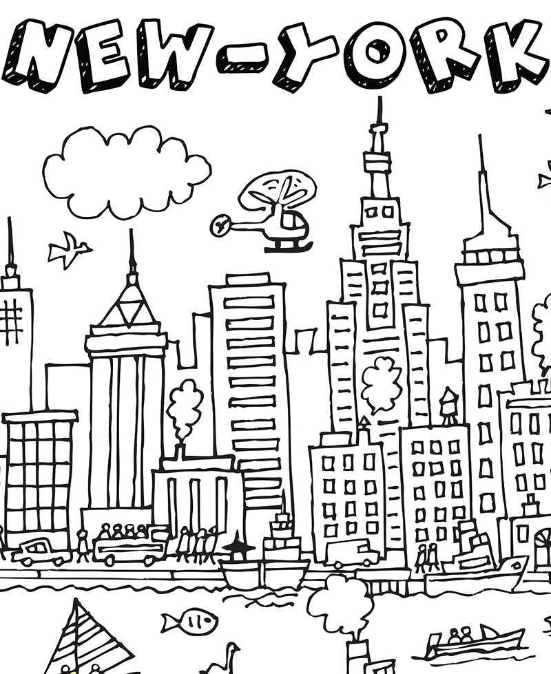Poster Geant A Colorier Pour Enfant New York City Coloriage New York