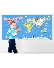 Poster à colorier  Map Animaux World XL