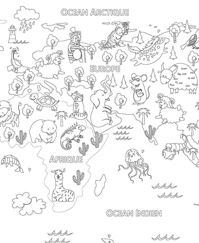 Poster géant à colorier pour enfant animaux du monde