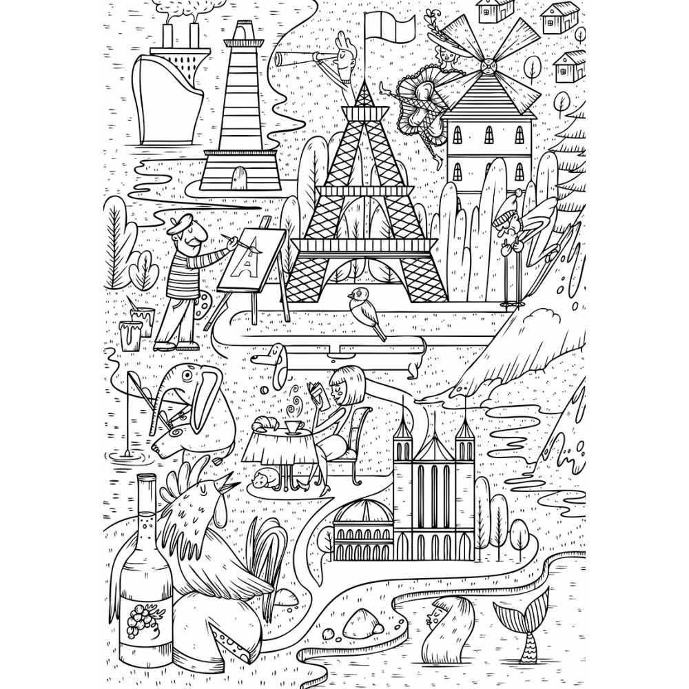 Poster géant à colorier pour enfant France, Paris