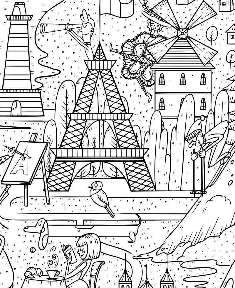 Poster Geant A Colorier Pour Enfant France Paris