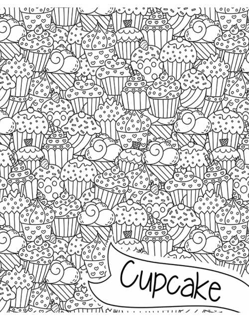 Poster à colorier Yummy Cupcakes