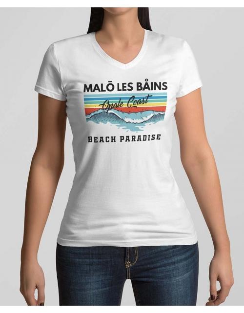 T-shirt Femme Malo Beach Col V