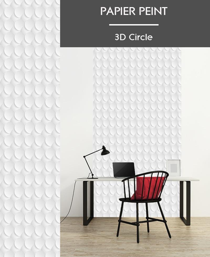 Lé de papier peint intissé, effet 3D, motifs géometriques