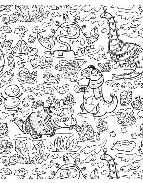 Coloriage Géant - Noel chez les Dinosaures