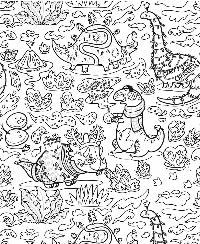 Mon Poster A Colorier Dinosaures Coloriage Noel Pilou Et Lilou