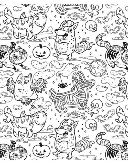 Poster à colorier Halloween Party