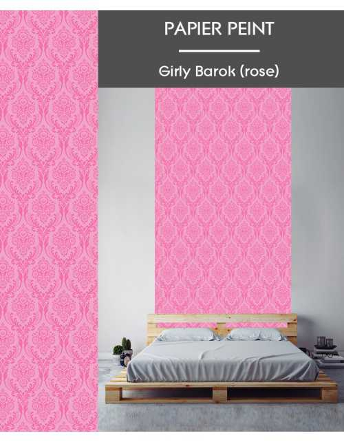 Papier Peint Girly Barok Rose