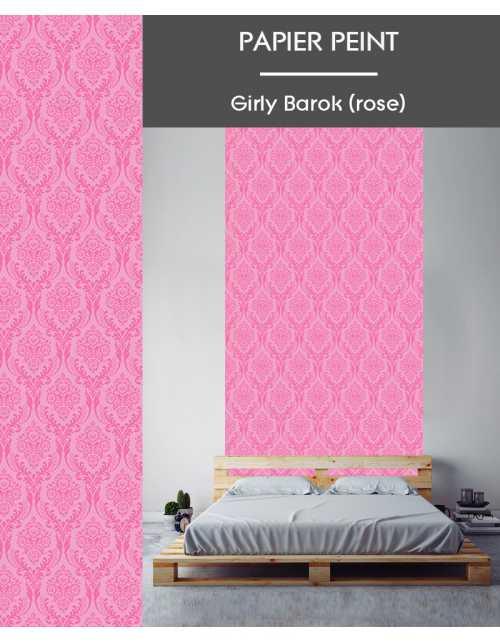 Papier Peint Girly Barok Rose