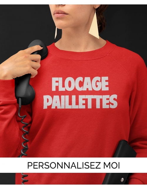 Sweat flocage paillettes H/F