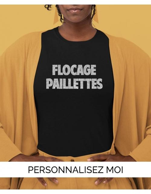 T-shirt flocage paillette femme