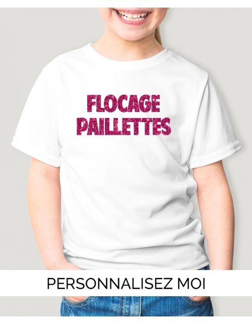 T-shirt enfant à personnaliser flocage paillette