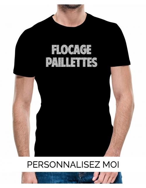 T-shirt homme à personnaliser flocage effet paillette