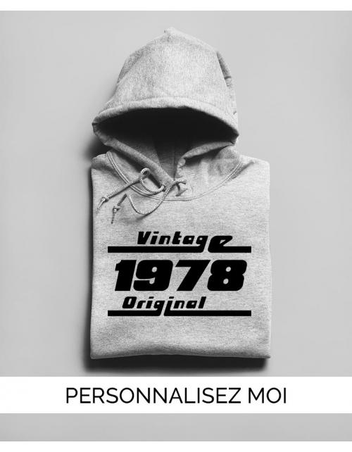 Hoodie à personnaliser Année de naissance Vintage
