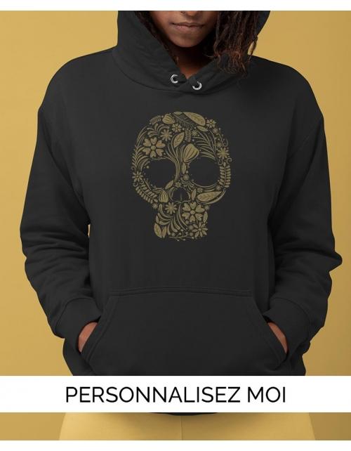 Hoodie Floral Skull personnalisable