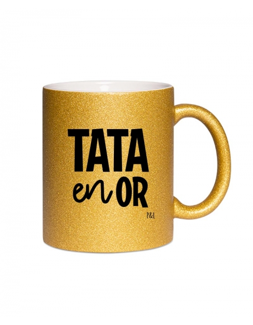 Mug Paillette Tata en Or