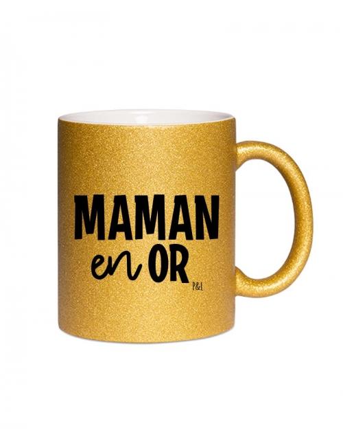 Mug Paillette Maman en Or