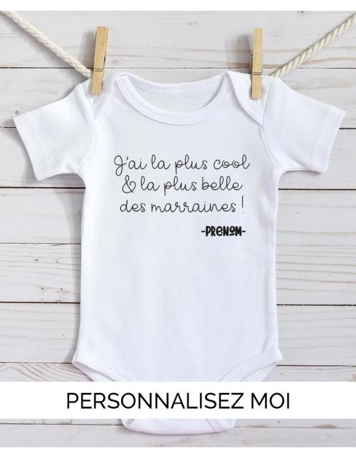 Body Bébé Marraine personnalisable prénom du bébé