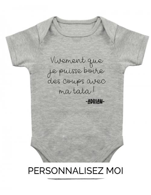 Body Bébé Tata Apéro à personnaliser avec le nom de bébé