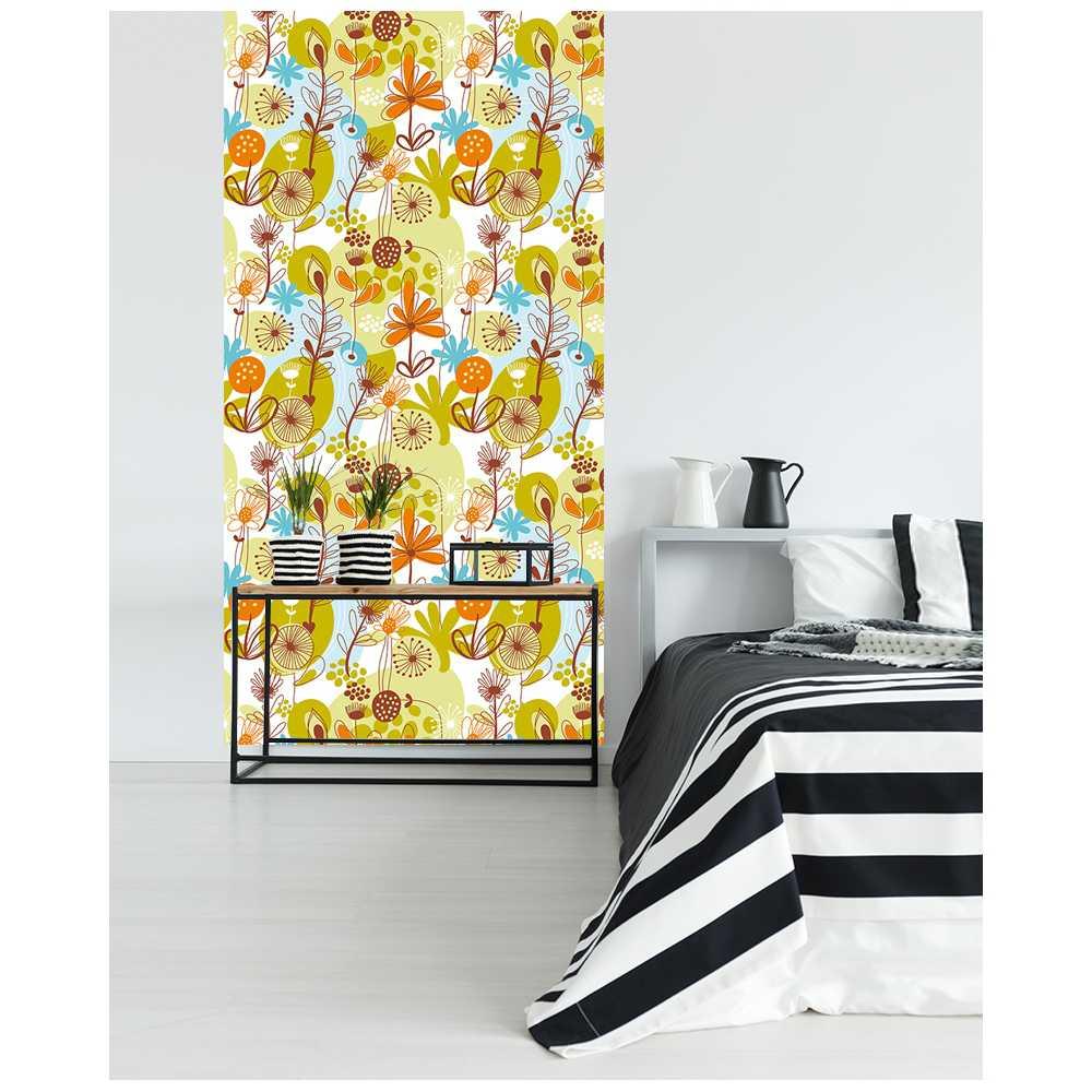l de papier peint intiss motifs vintage rond color graphique. Black Bedroom Furniture Sets. Home Design Ideas