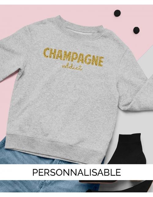 Sweat Champagne Addict Paillette Personnalisable