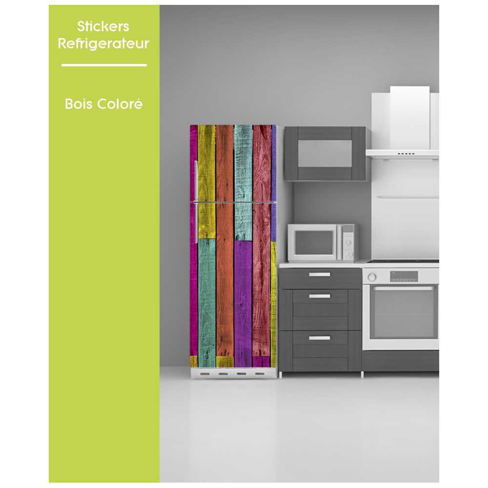 sticker pour frigo bois colore trompe oeil bois palette. Black Bedroom Furniture Sets. Home Design Ideas
