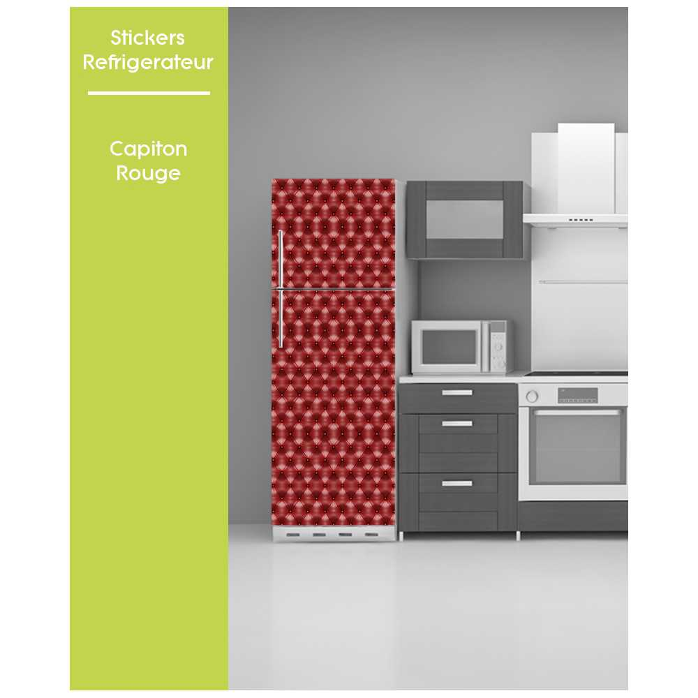 sticker pour frigo trompe oeil pose facile capitonne capiton rouge. Black Bedroom Furniture Sets. Home Design Ideas