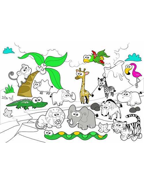 Poster à colorier Savane
