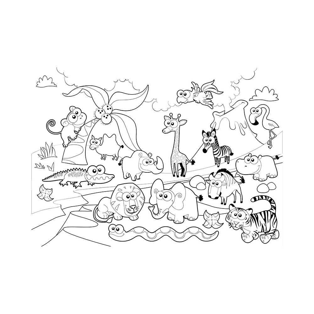 Poster g ant colorier animaux de la ferme coloriage - Dessin de savane ...