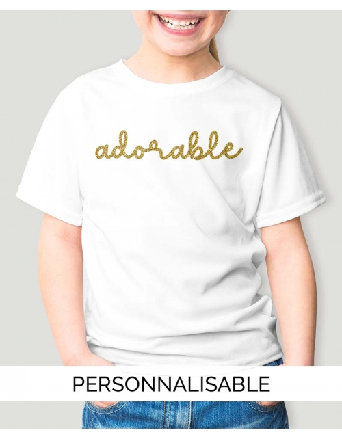 T-shirt Fille Adorable - Personnalisable