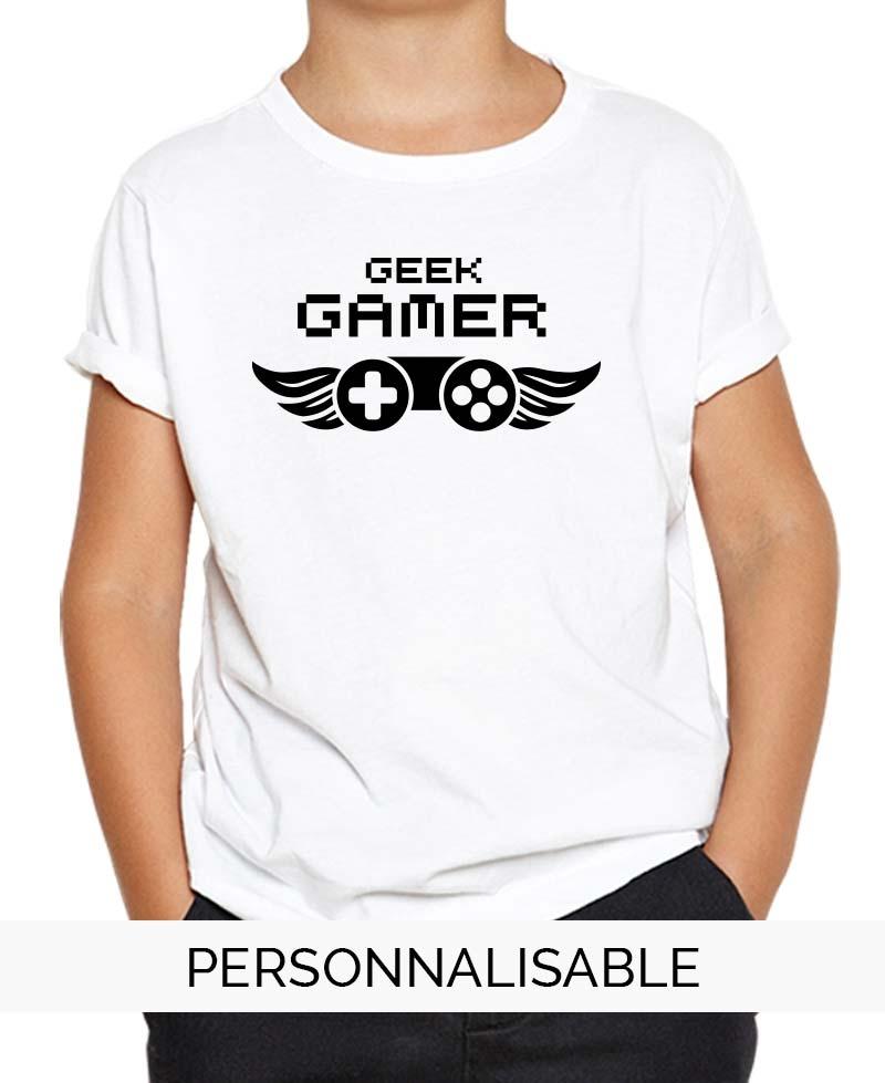 t-shirt enfant geek gamer pilou et lilou
