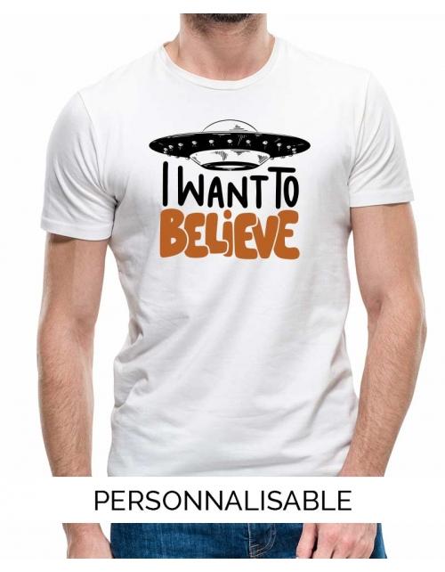 T-shirt homme i want to believe pilou et lilou