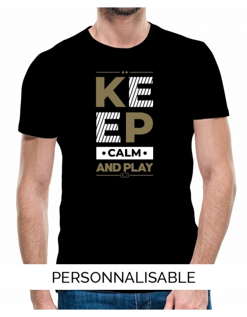 T-shirt homme keep calm and play pilou et lilou