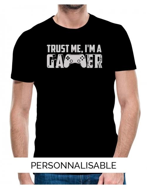 T-shirt homme trust me i am gamer pilou et lilou