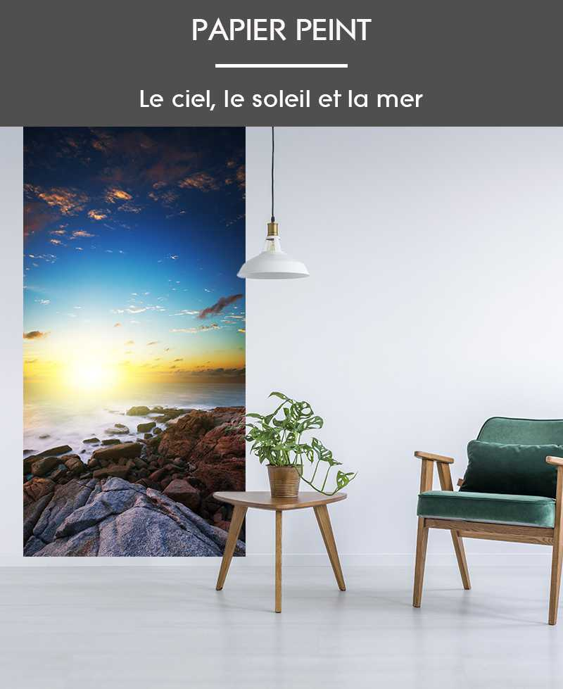 l de papier peint intiss photo mer ciel et terre couch de soleil. Black Bedroom Furniture Sets. Home Design Ideas