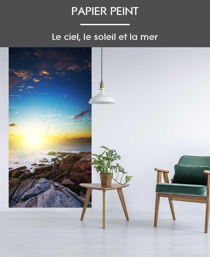 l de papier peint intiss photo mer ciel et terre. Black Bedroom Furniture Sets. Home Design Ideas