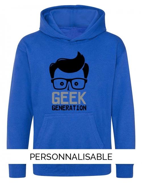sweat capuche enfant geek generation pilou et lilou