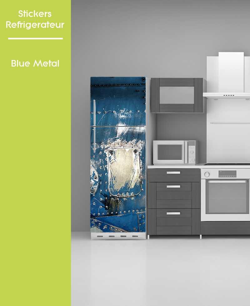 sticker pour frigo trompe oeil metal bleu. Black Bedroom Furniture Sets. Home Design Ideas