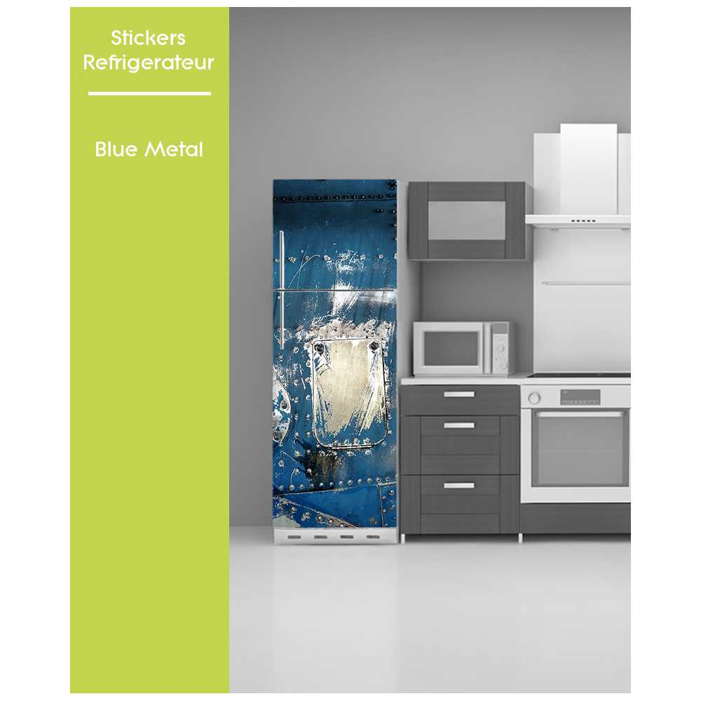 sticker pour frigo trompe oeil metal bleu. Black Bedroom Furniture Sets. Home Design Ideas