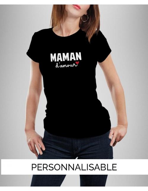 T-shirt Maman personnalisé - Maman Amour - Pilou et Lilou