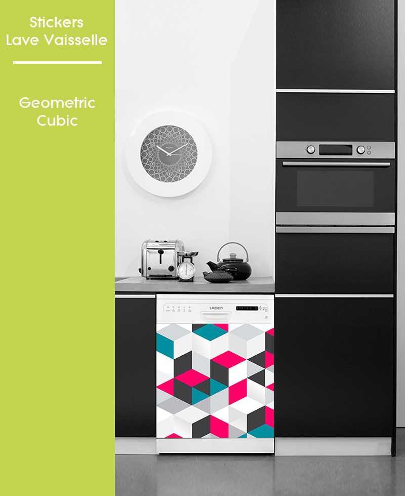 Sticker pour Lave Vaisselle - Geometric Cubic
